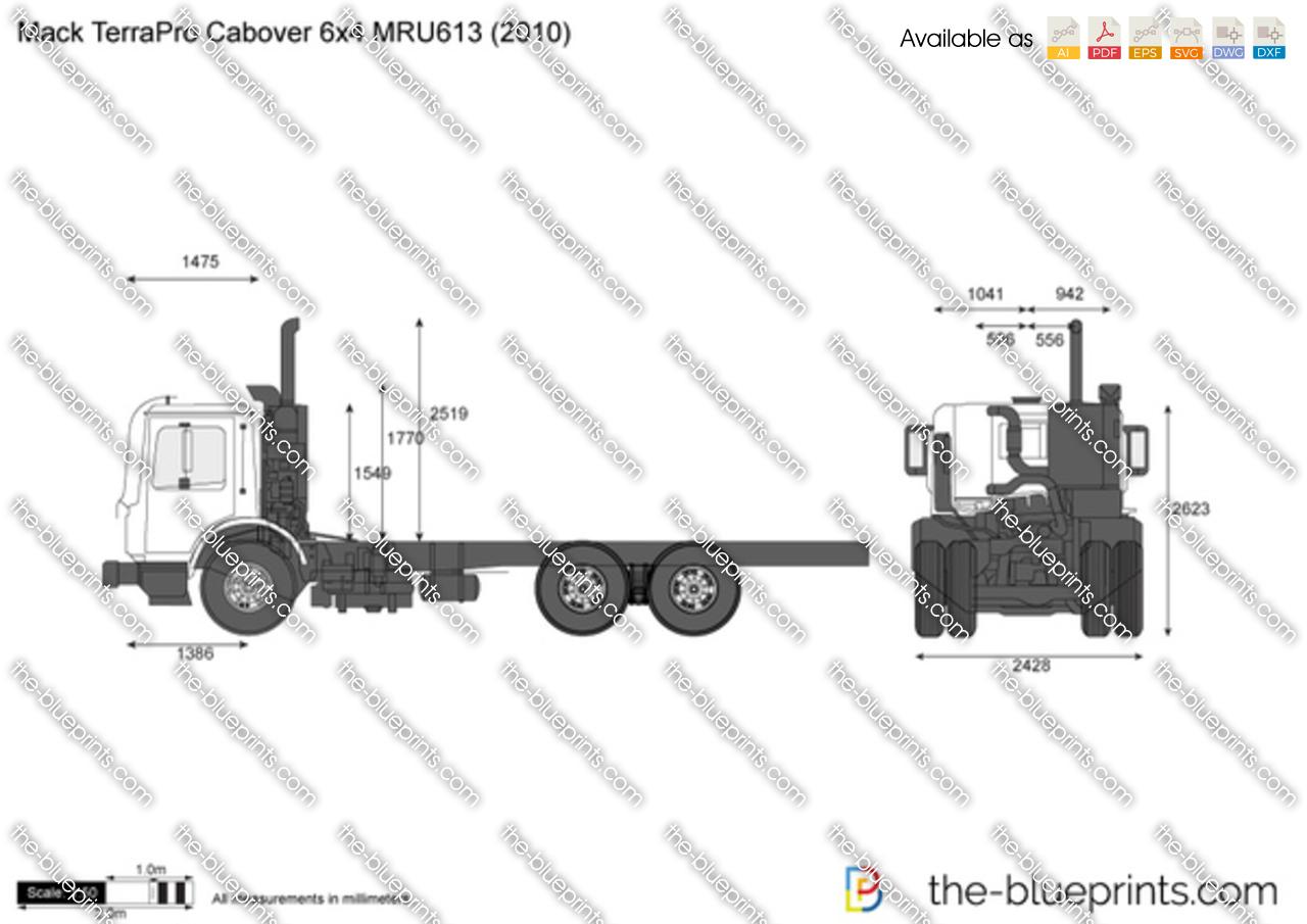 Mack Terrapro Cabover 6x4 Mru613 Vector Drawing