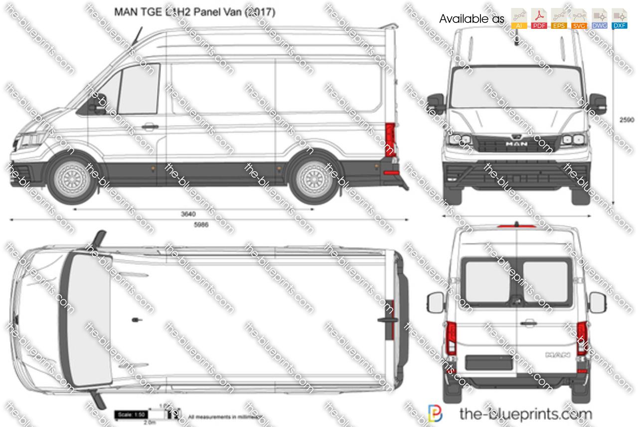 Man Tge L1h2 Panel Van Vector Drawing