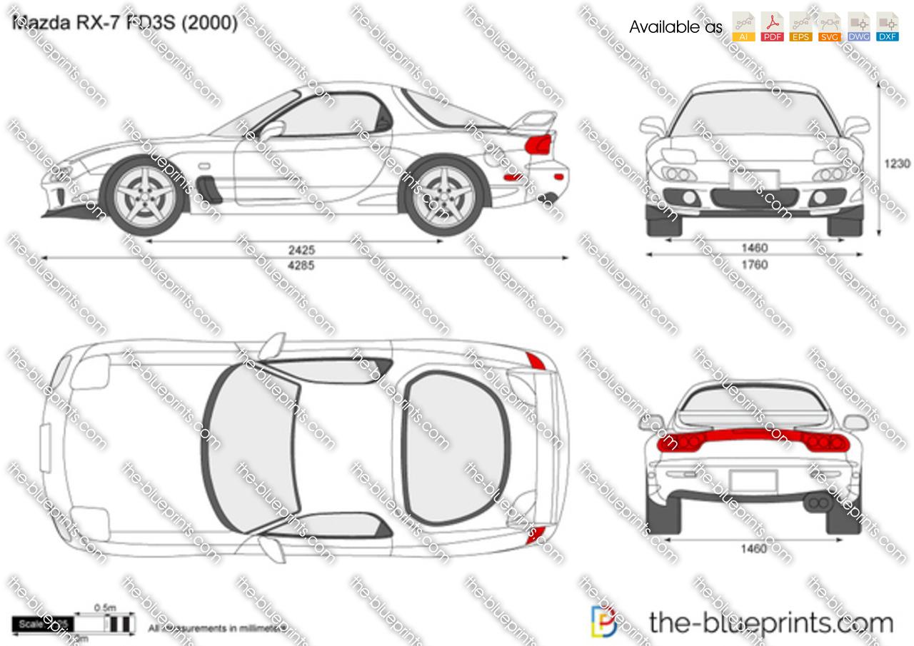 Mazda Rx 7 Fd3s Vector Drawing