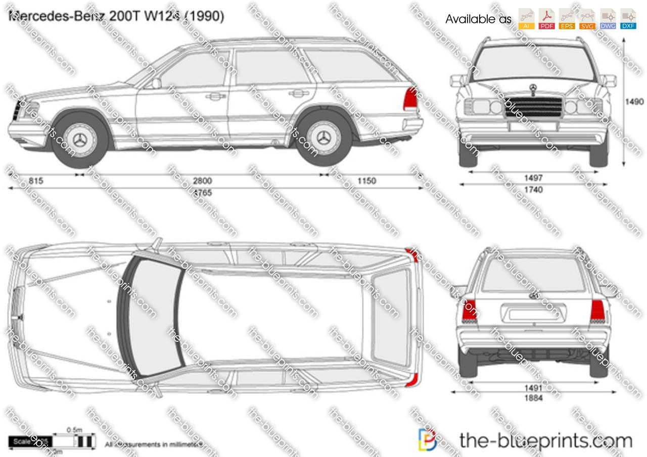 Mercedes Benz 200t W124 Vector Drawing
