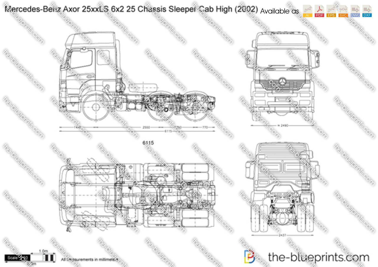 Mercedes Benz Axor 25xxls 6x2 25 Chassis Sleeper Cab High