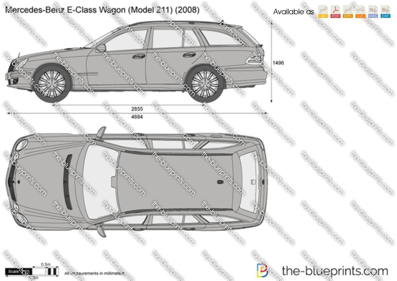 Mercedes Benz E Class Wagon W211 Vector Drawing