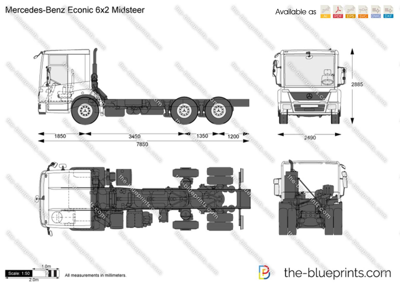 Mercedes Benz Econic 6x2 Midsteer Vector Drawing