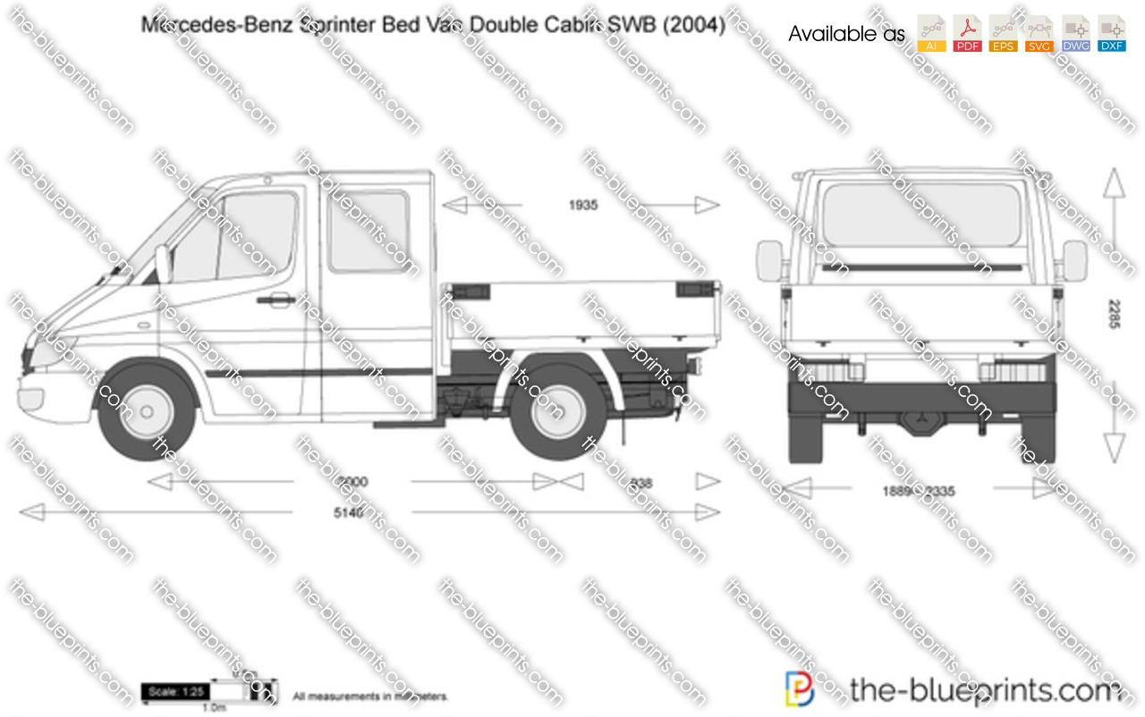 Mercedes Benz Sprinter Bed Van Double Cabin Swb Vector Drawing