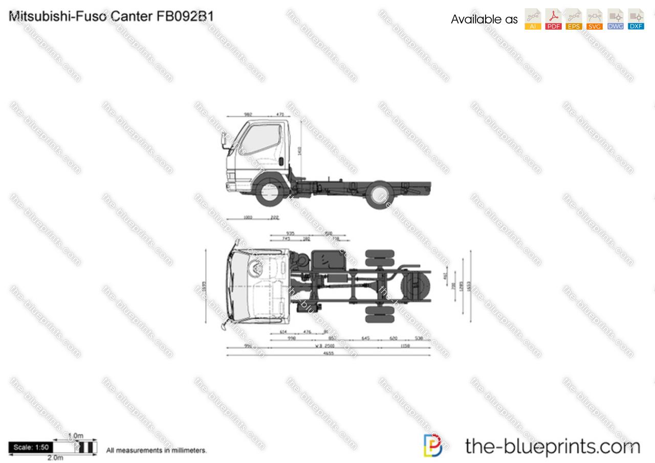 Mitsubishi Fuso Canter Fb092b1 Vector Drawing