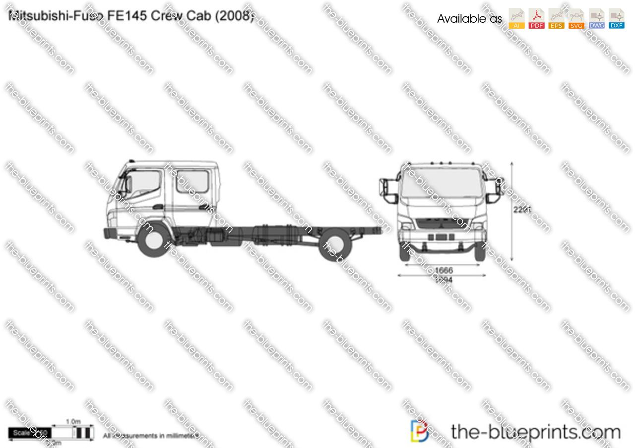 Mitsubishi Fuso Fe145 Crew Cab Vector Drawing