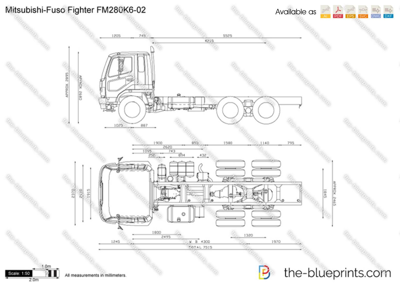 Mitsubishi Fuso Fighter Fm280k6 02 Vector Drawing