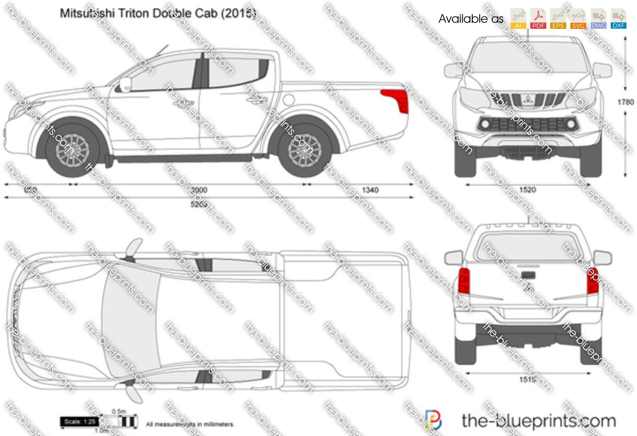 Mitsubishi L200 Double Cab Vector Drawing