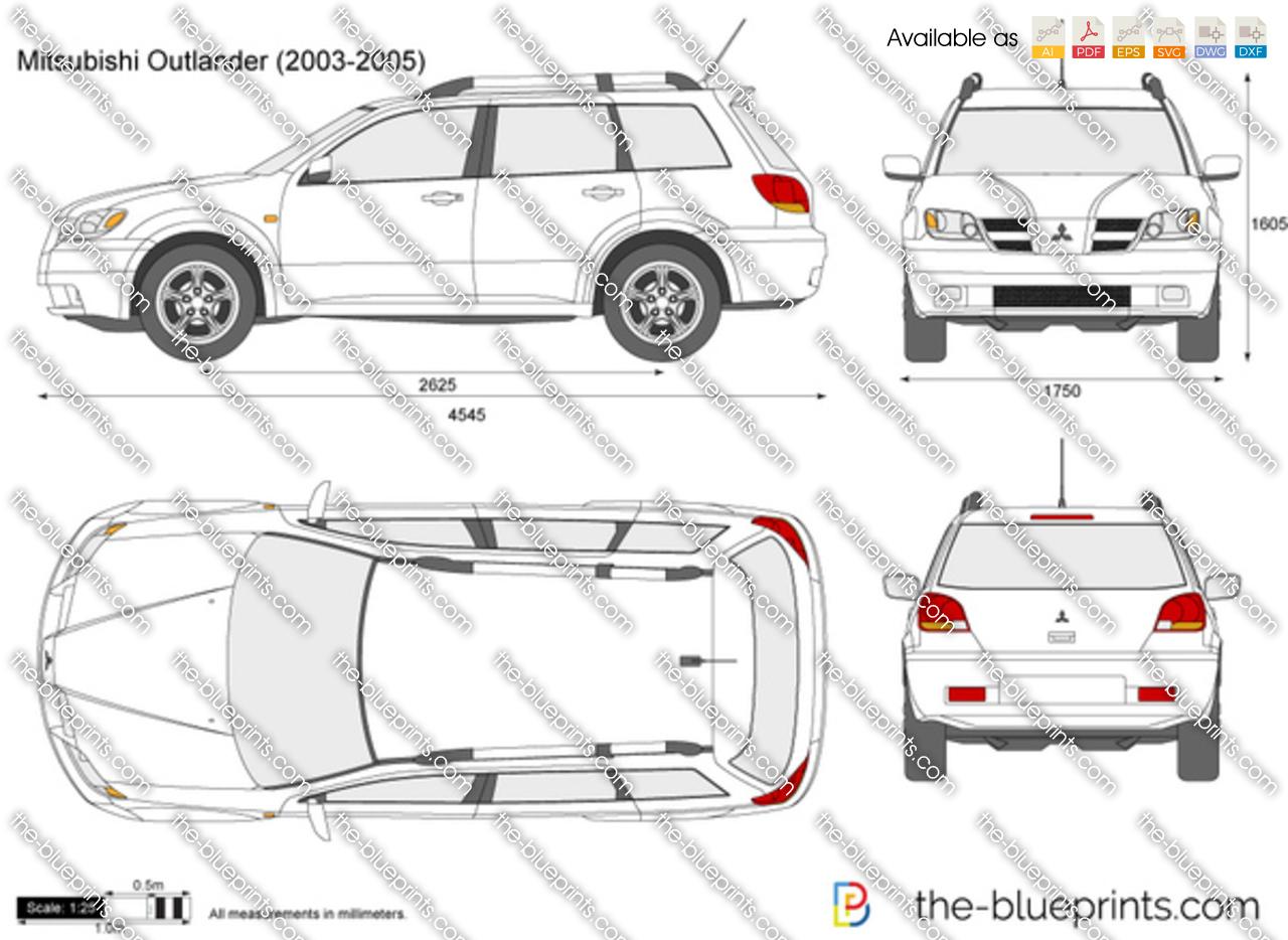 Mitsubishi Outlander Vector Drawing