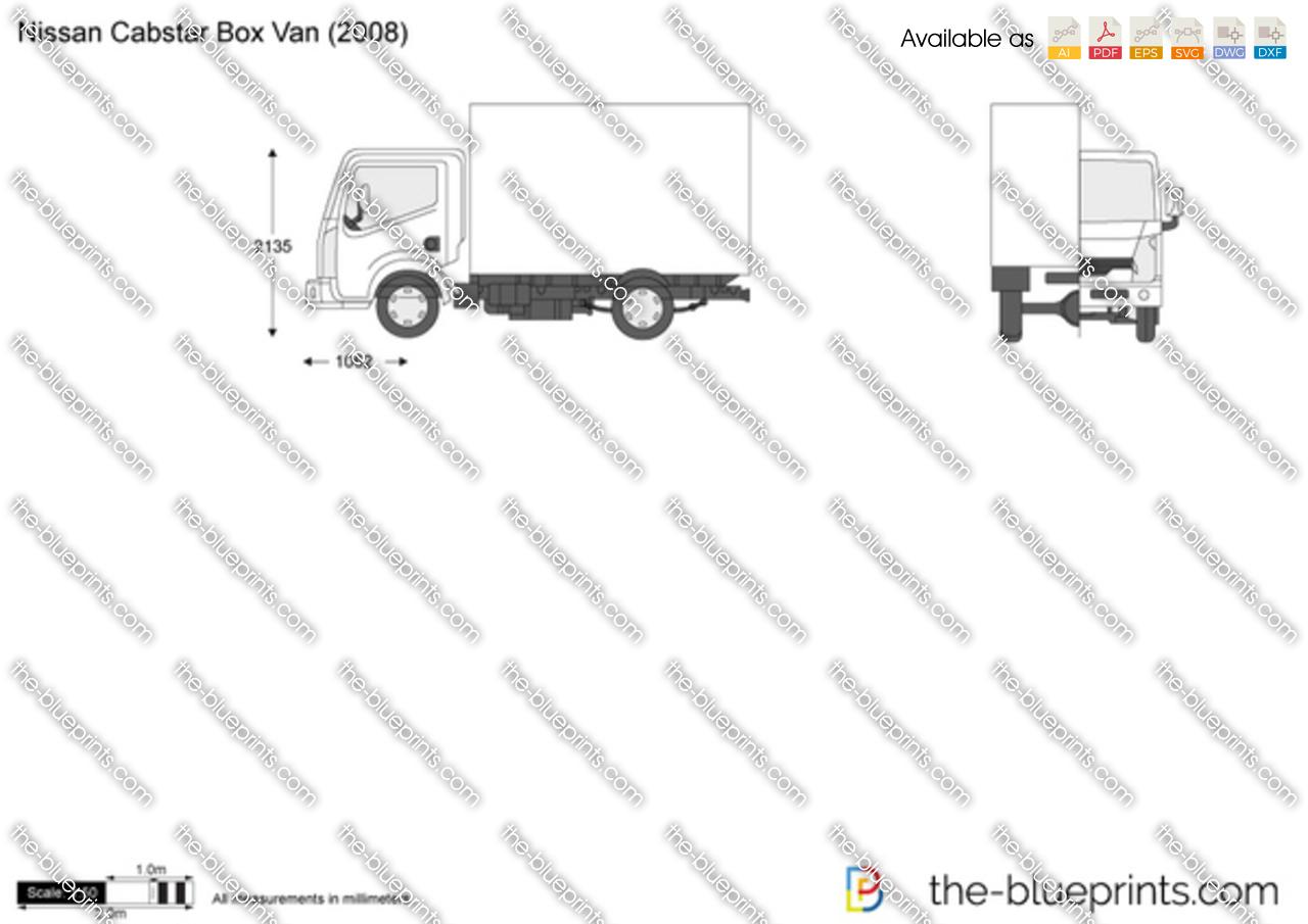 Nissan Cabstar Box Van Vector Drawing
