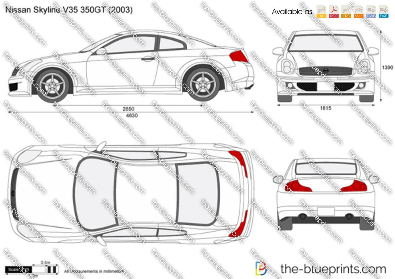 Nissan Skyline V35 350gt Vector Drawing