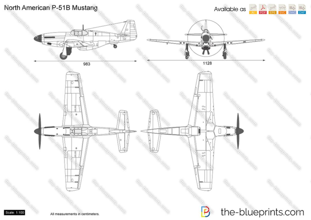 North American P 51b Mustang Vector Drawing