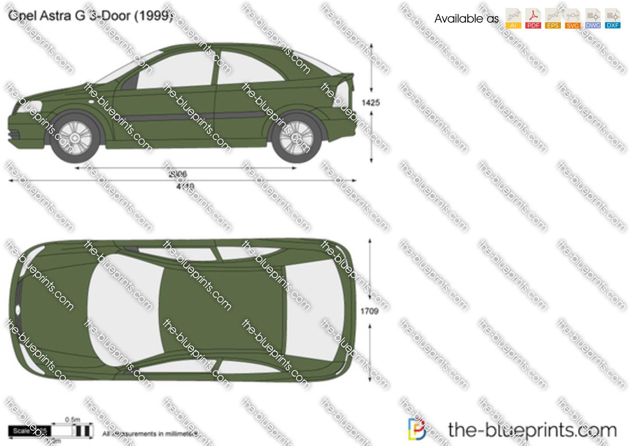Opel Astra G 3 Door Vector Drawing