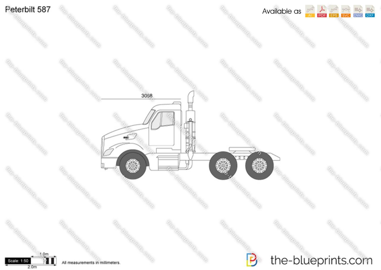 Peterbilt 587 Vector Drawing