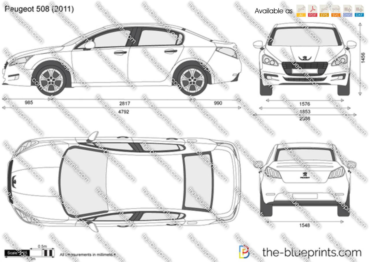 Peugeot 508 Vector Drawing