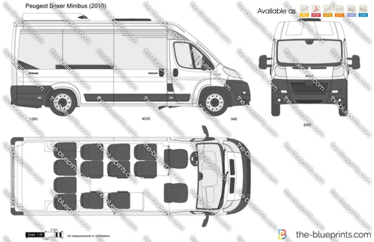 Peugeot Boxer Minibus Vector Drawing