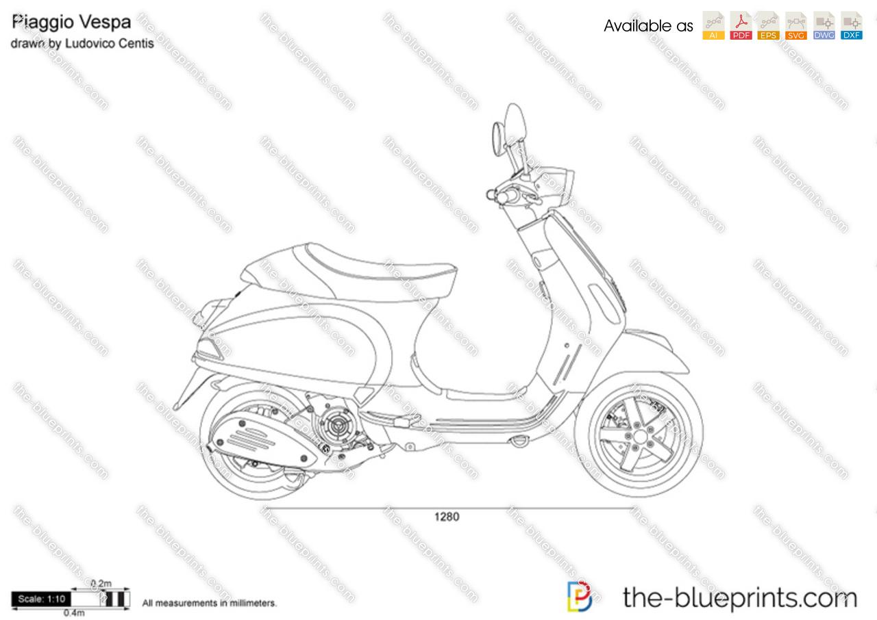 Piaggio Vespa Vector Drawing