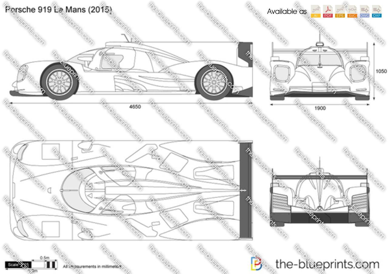 Porsche 919 Le Mans Vector Drawing