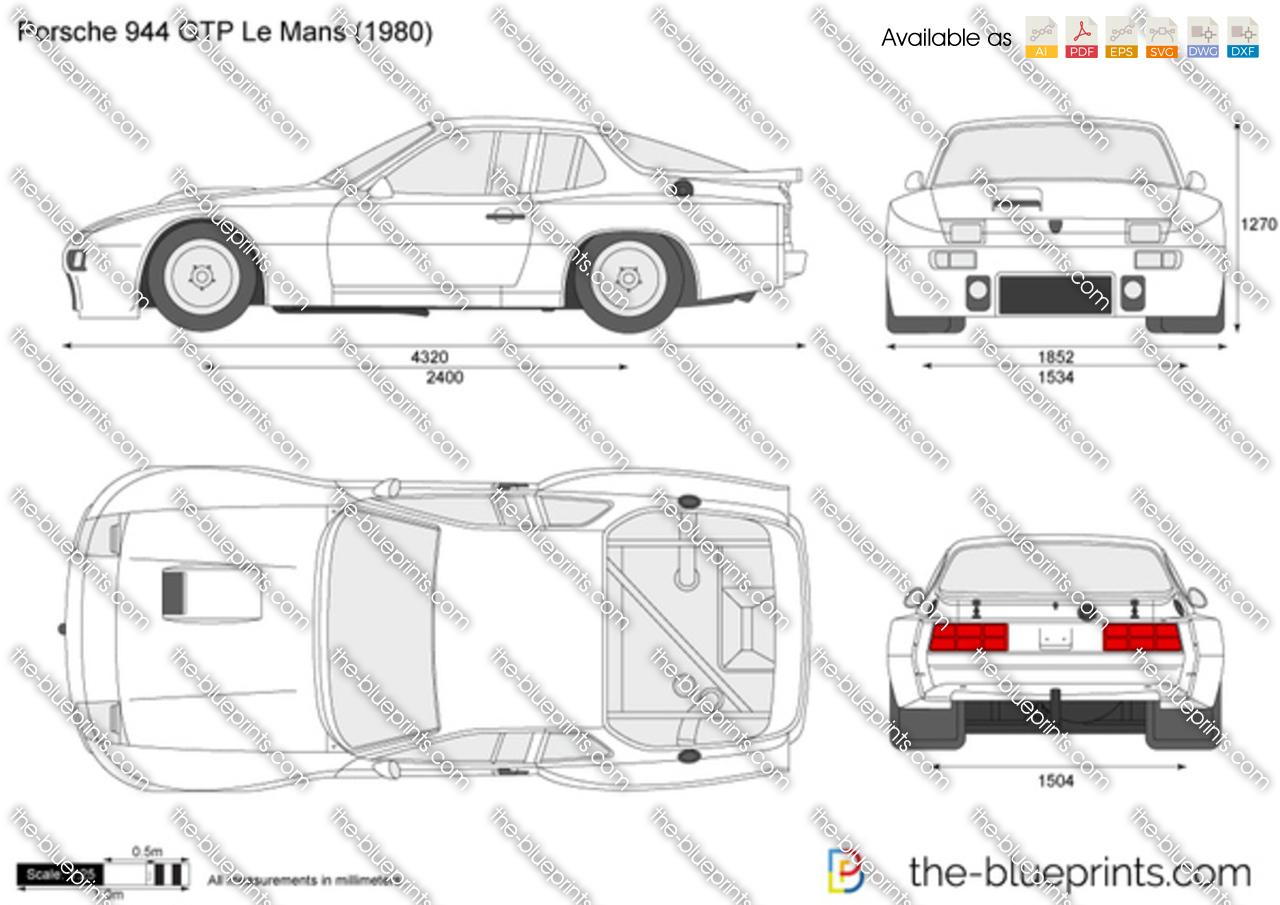Porsche 944 Gtp Le Mans Vector Drawing