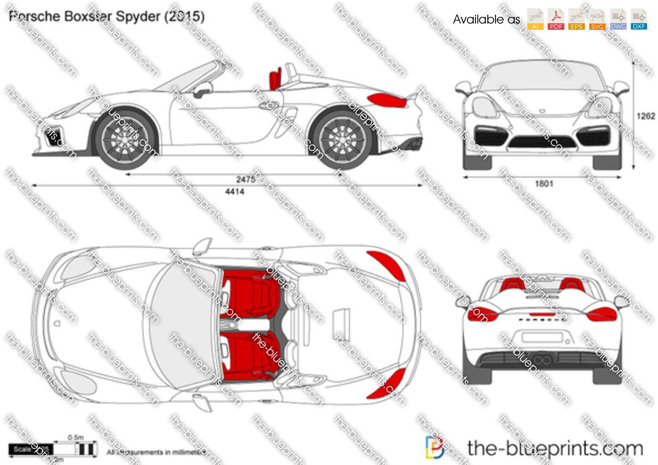 Porsche Boxster Spyder 981 Vector Drawing