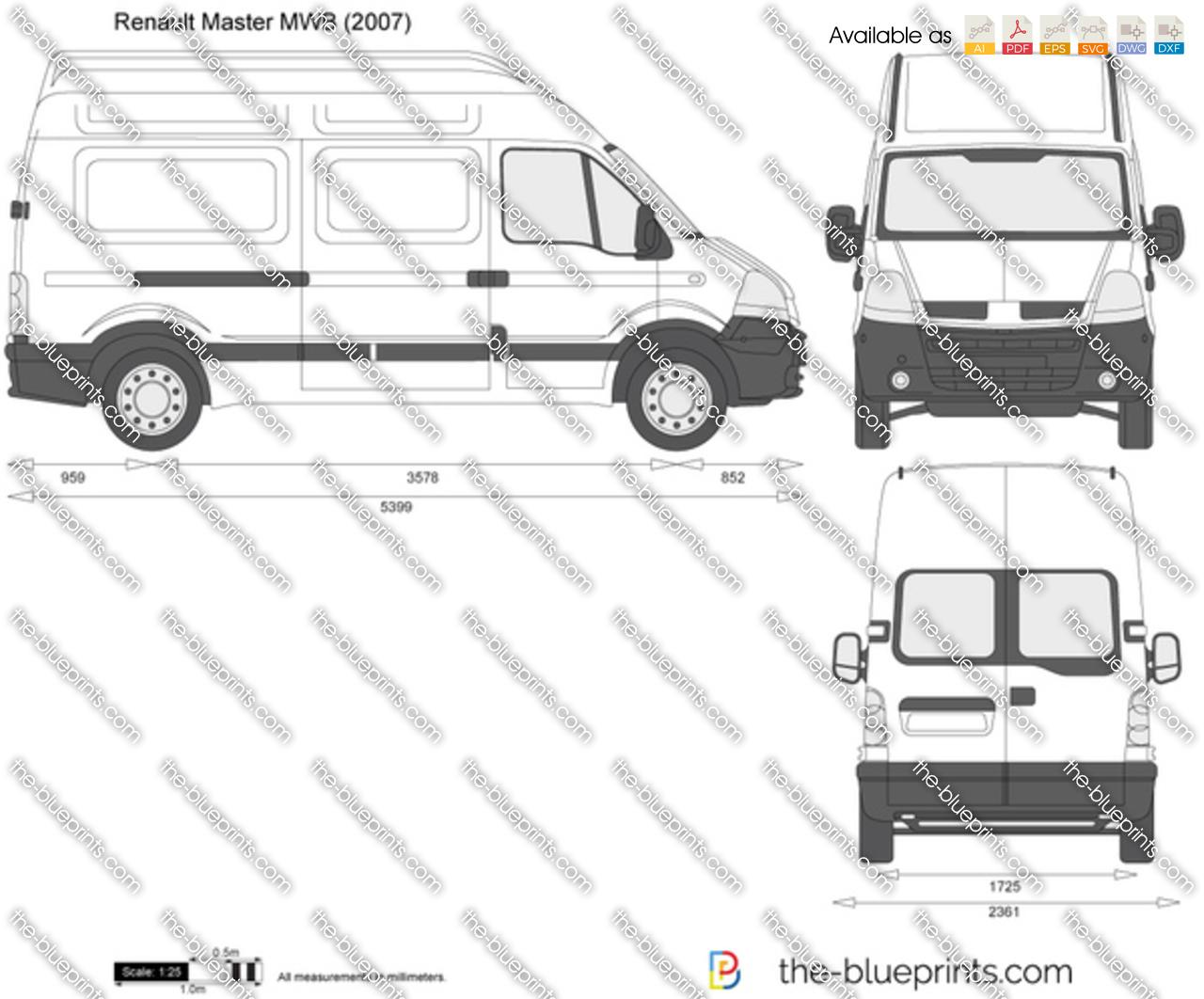 Renault Master Mwb Vector Drawing