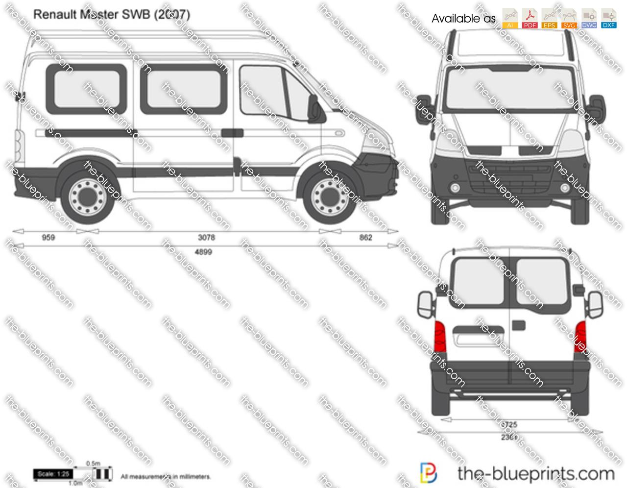 Renault Master Swb Vector Drawing