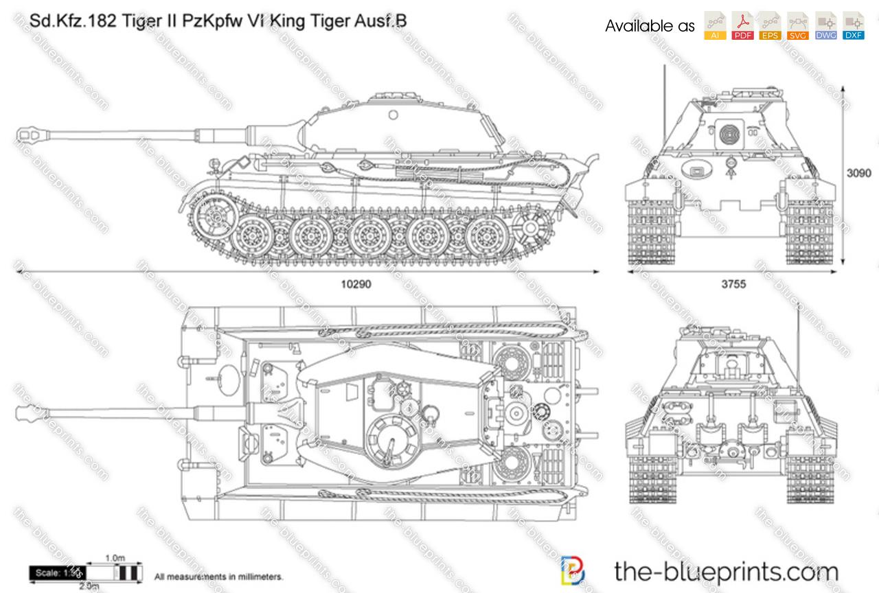 Sd Kfz 182 Tiger Ii Pzfw Vi King Tiger Ausf B Vector