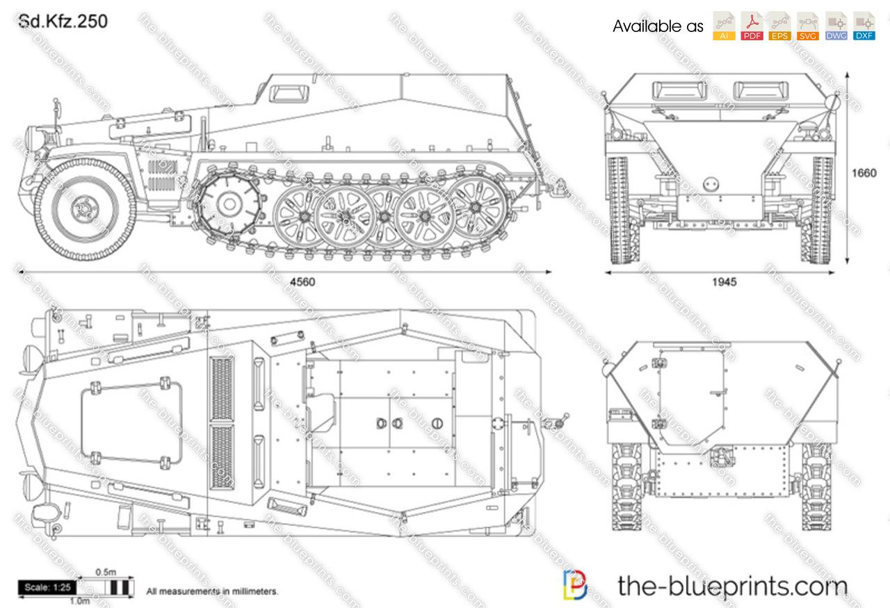 Sd Kfz 250 Vector Drawing