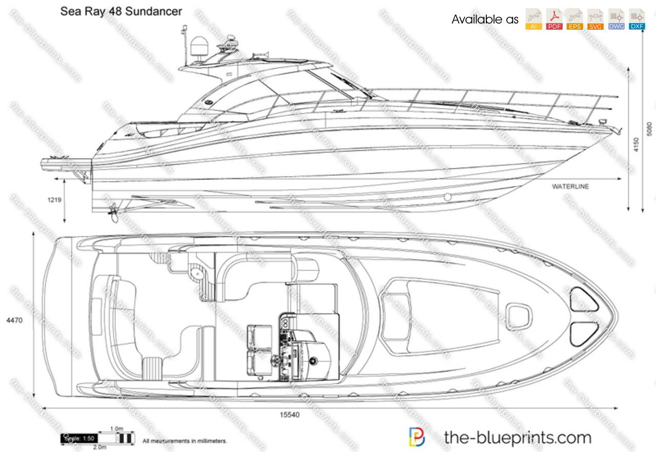 Sea Ray 48 Sundancer Vector Drawing