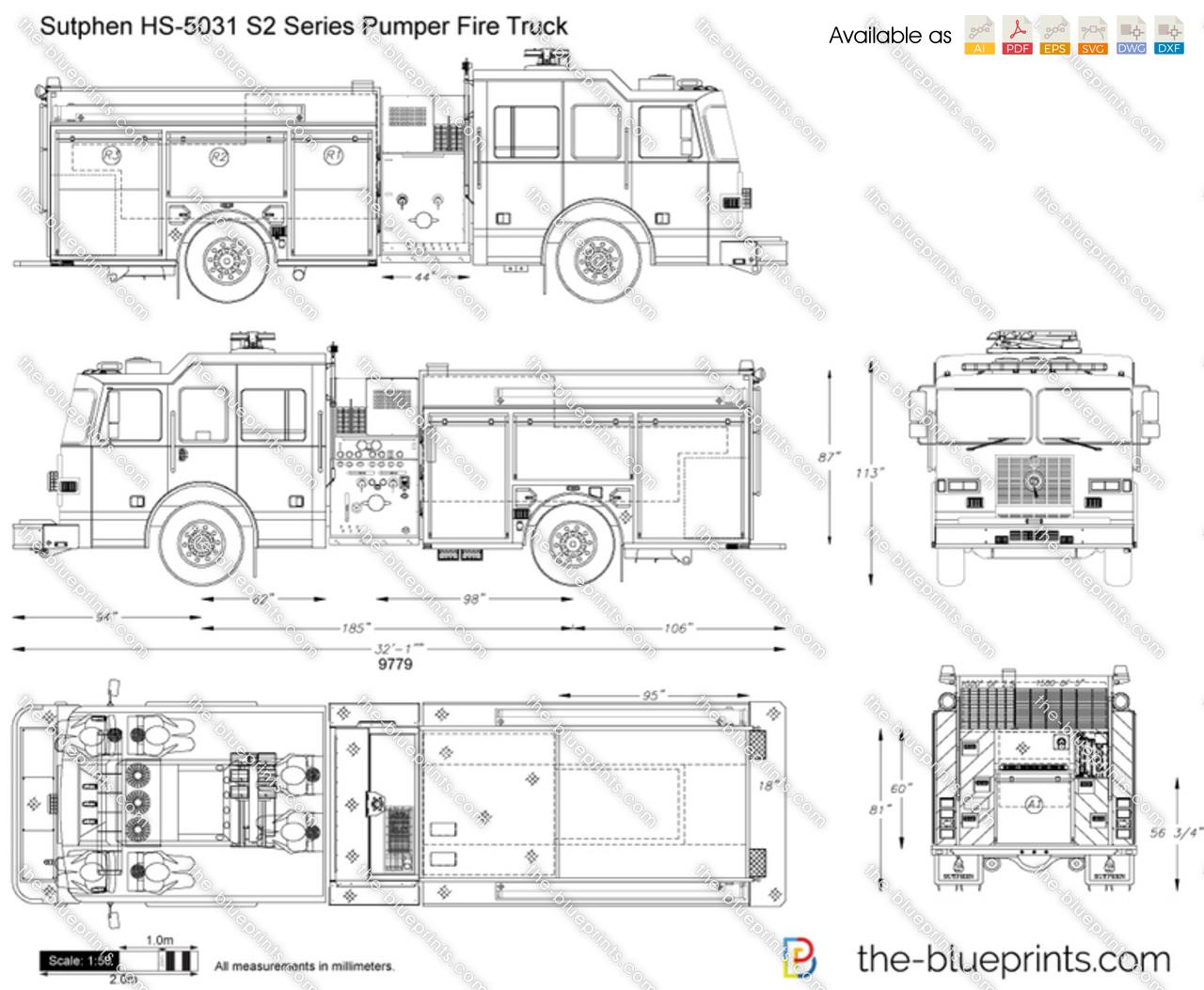 Sutphen Hs S2 Series Pumper Fire Truck Vector Drawing