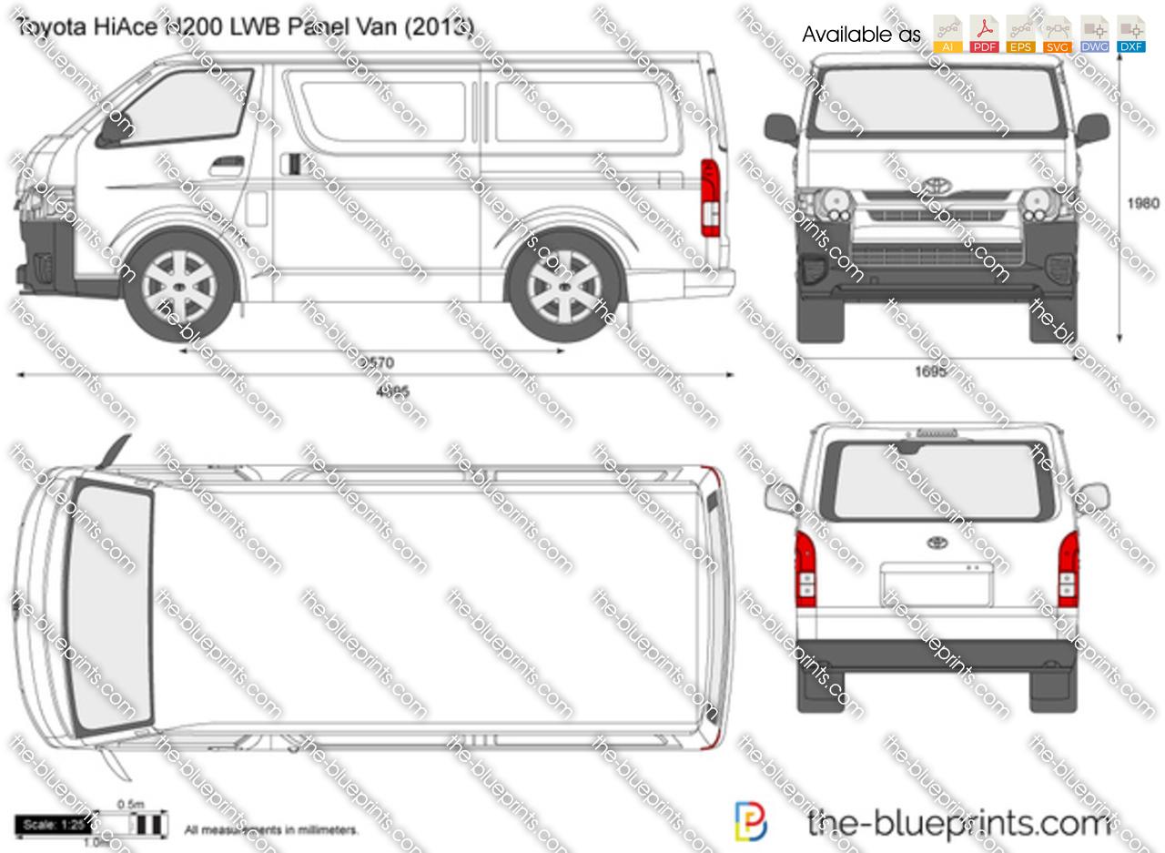 Toyota Hiace H200 Lwb Panel Van Vector Drawing