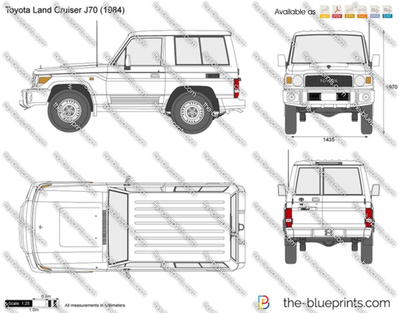 Toyota Land Cruiser J70 Swb Vector Drawing