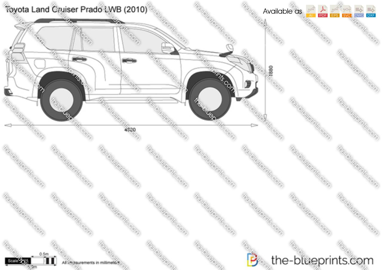 Toyota Land Cruiser Prado Lwb Vector Drawing