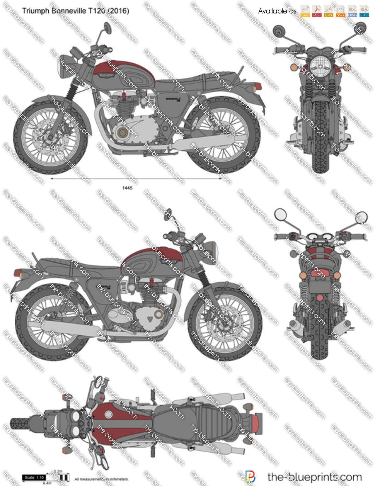 Triumph Bonneville T120 Vector Drawing