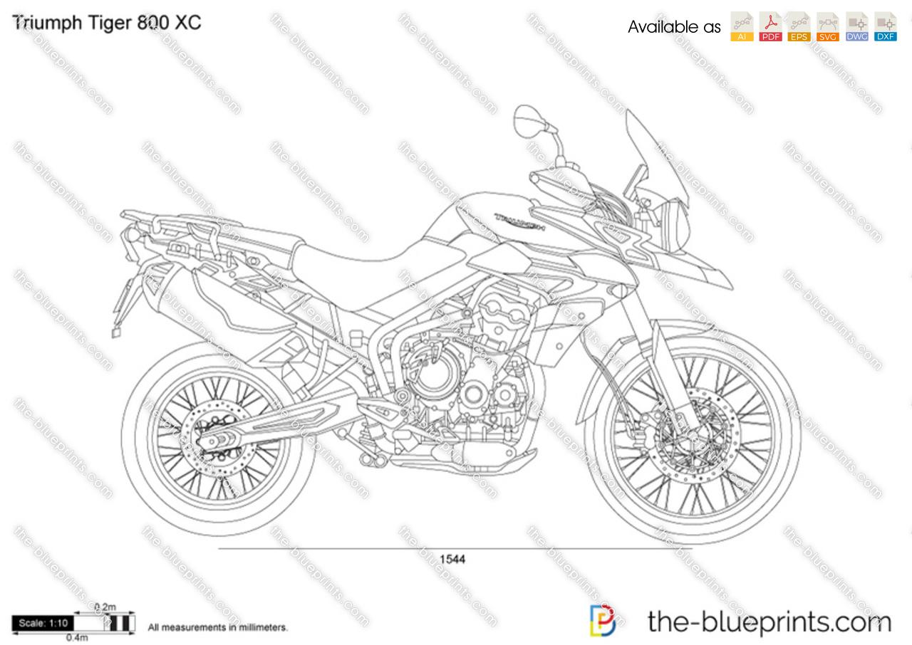 Triumph Tiger 800 Xc Vector Drawing