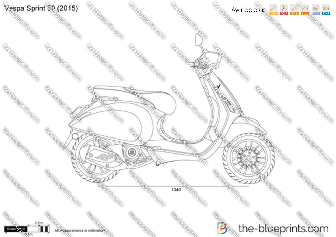 Vespa Sprint 50 Vector Drawing