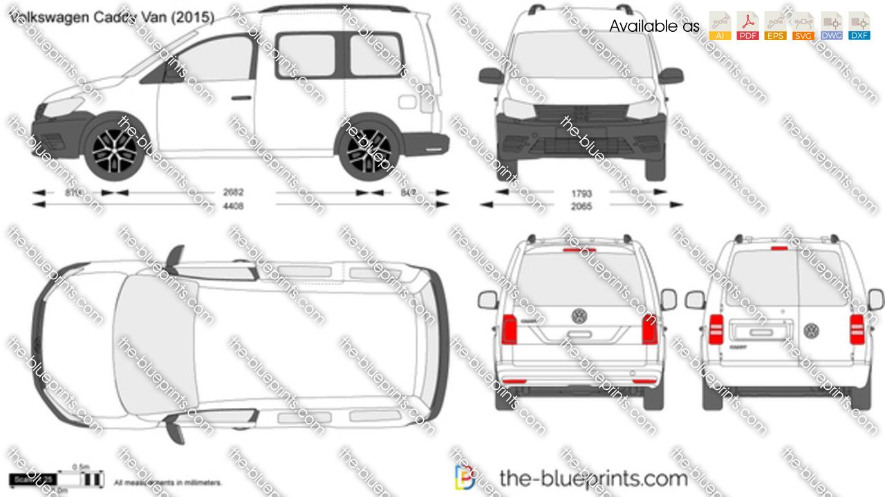 Volkswagen Caddy Van Vector Drawing