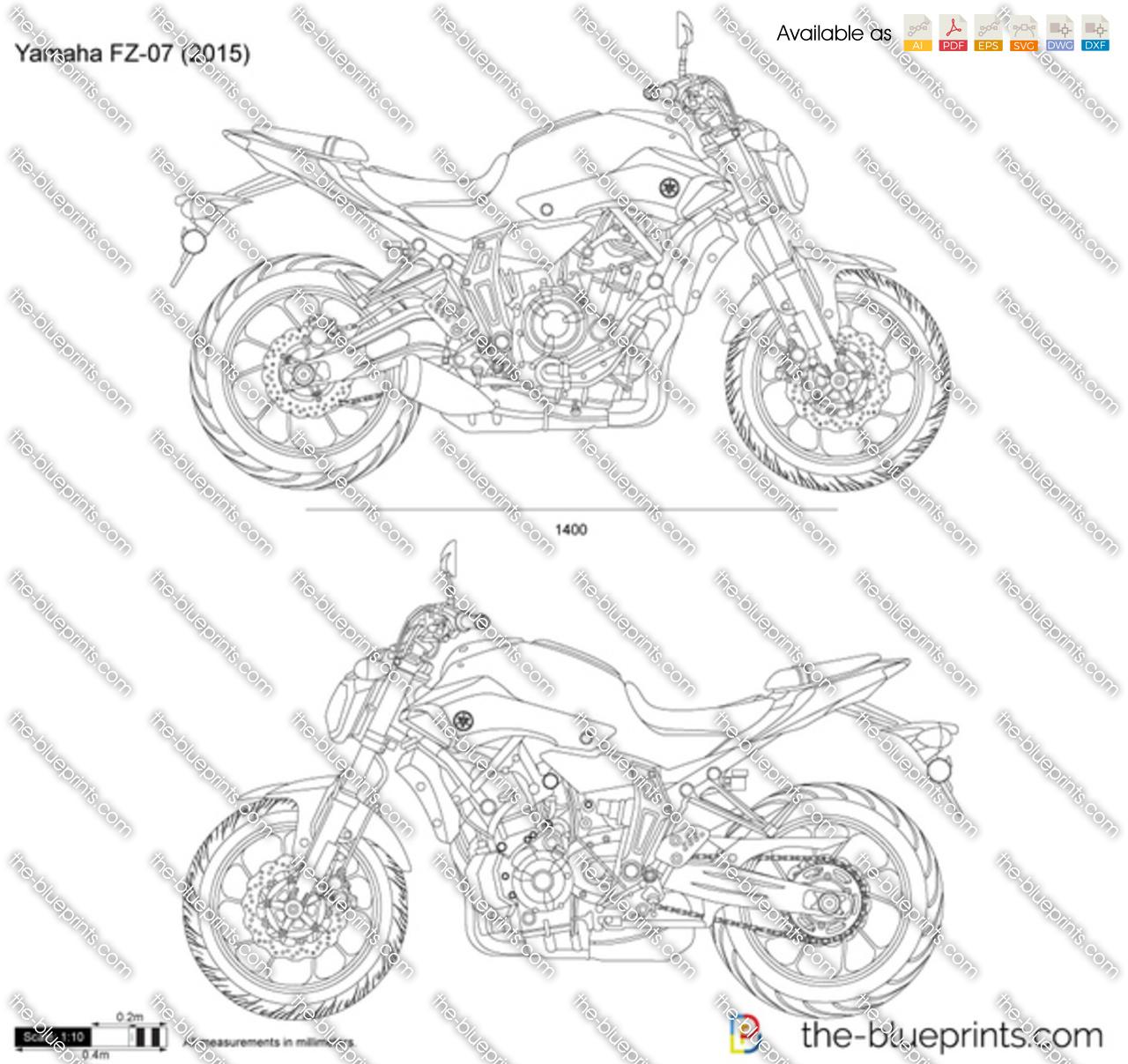 Yamaha Fz 07 Vector Drawing