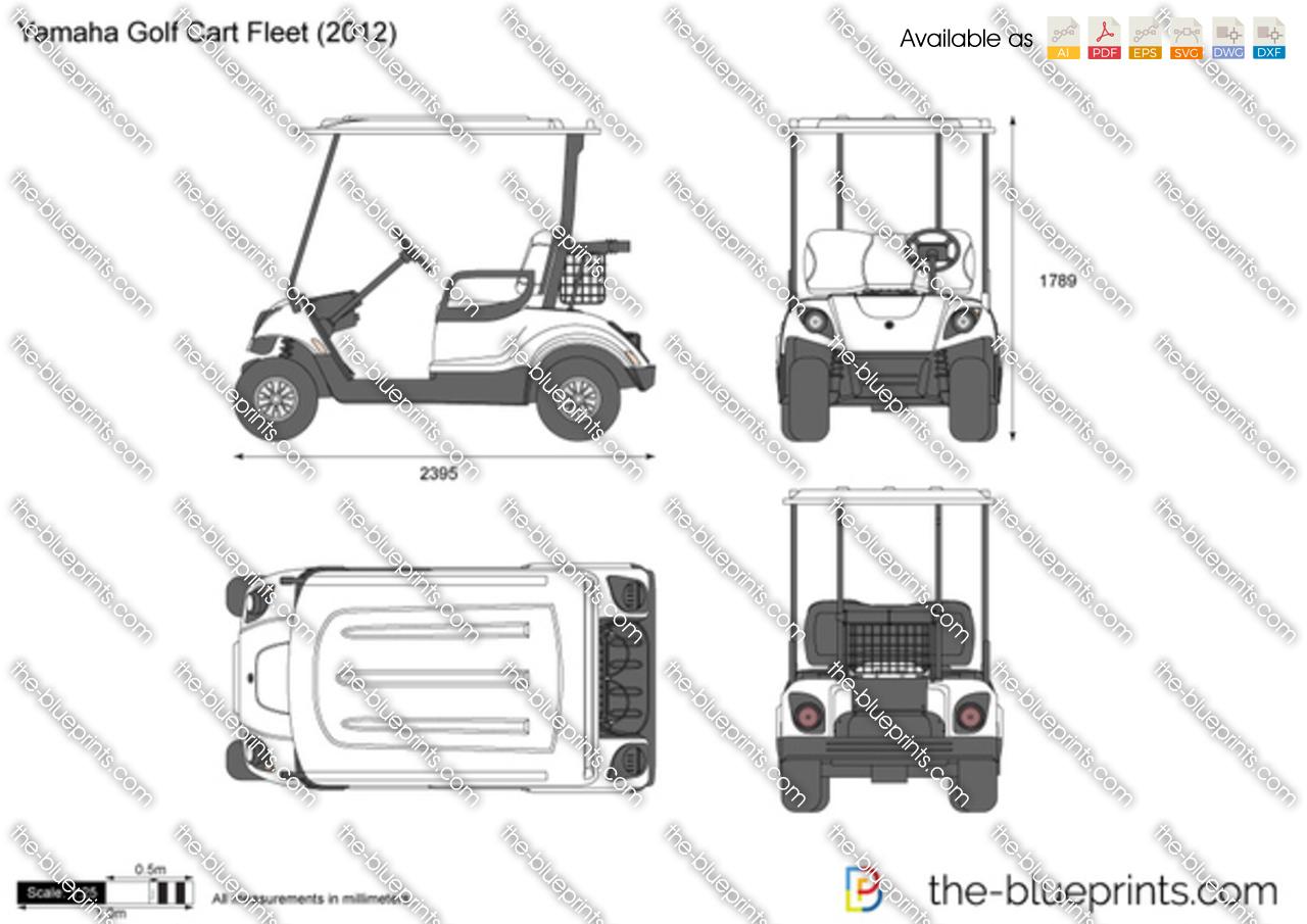 Yamaha Golf Cart Fleet Vector Drawing