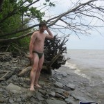 Front shot of me in Sporti Euro Swim Brief on the lake shore.