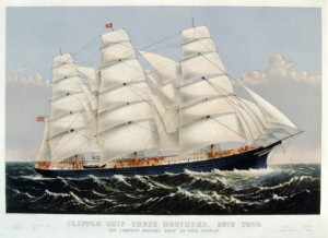 Clipper ship Three Brothers, the largest sailing ship in the world in 1875