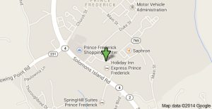 Map of Prince Frederick showing the location of the Holiday Inn Express where the car of the dead man was found.