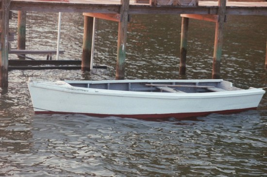 One of the fleet of wooden skiffs which served Quade's Store at Bushwood Wharf for years.  THE CHESAPEAKE TODAY photo