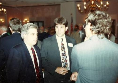 Larry Hogan Jr., left in 1992 at a campaign event. See more of that election and over 200 great editorial cartoons featuring dozens of Maryland politicos in The Story of The Rag available in eBook, paperback and in Audible.