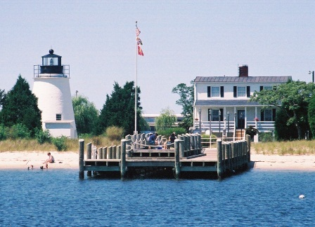 Piney Point Lighthouse. Built circa 1835 and known as a vacation spot of Presidents. This lighthouse was turned over from the Coast Guard to St. Mary's County which operates it as a public park. THE CHESAPEAKE TODAY photo