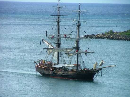 The Brig Unicorn which appeared in three Pirates of the Caribbean films enters the harbor at St. Lucia. THE CHESAPEAKE TODAY photo
