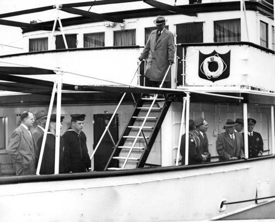 President Harry Truman on the USS Williamsburg sailed on the Potomac River.