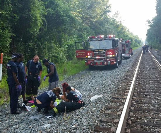 Hitchhiker fell from moving train.  Joppa-Magnolia VFC photo @JMVFC8