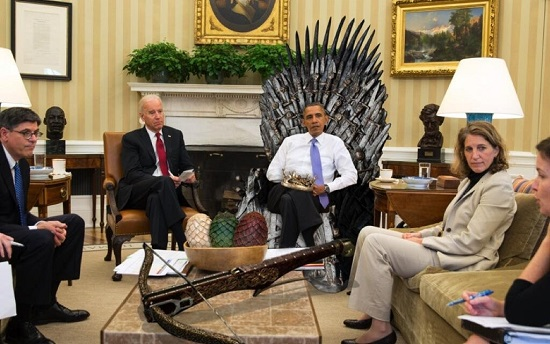 King Obama sits on his throne in the White House