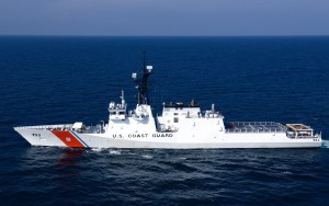 Coast Guard Cutter Hamilton during sea trials.